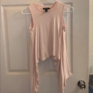 Flowy sleeve cut out shoulder light pink crop